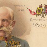 Kaiser Franz Joseph I. (1830-1916) auf einer Bildpostkarte zum 50. Thronjubiläum 1898