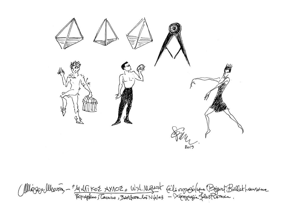 Θάνος Μικρούτσικος (και Μίλβα) - σχέδιο Έλλης Σολομωνίδου - Μπαλάνου