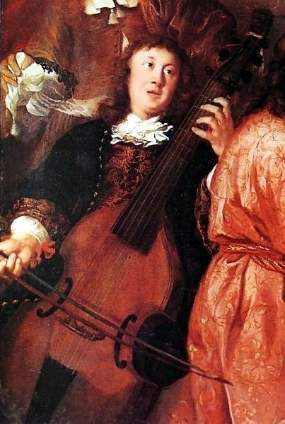 Dieterich Buxtehude-his only surviving portrait playing a viol, from A musical party by Johannes Voorhout, 1674
